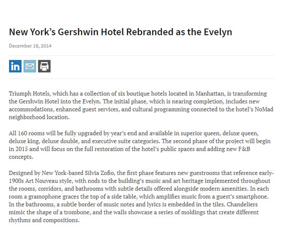New Yorks Gershwin Hotel Rebranded as The Evelyn