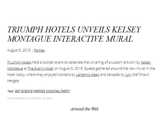 TRIUMPH HOTELS UNVEILS KELSEY MONTAGUE INTERACTIVE MURAL